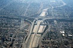 The Judge Harry Pregerson Interchange with the Harbor Freeway (I-110) and the Century Freeway (I-105)