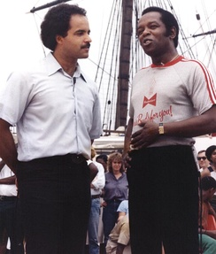 Lou Rawls at Baltimore's Inner Harbor (1980) being interviewed by local news anchor Curt Anderson, promoting the Lou Rawls Parade of Stars Telethon