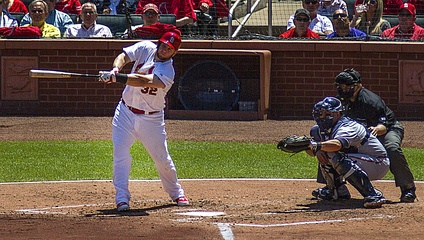 Adams batting against Atlanta, 2014