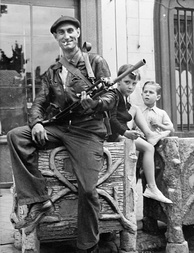 A volunteer of the French Resistance interior force (FFI) at Châteaudun in 1944