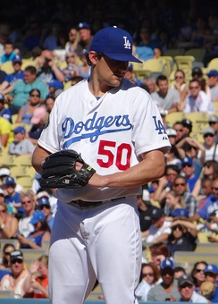 Eovaldi pitching for the Los Angeles Dodgers in 2012