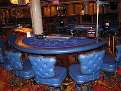 A Three Card Poker table in a casino aboard the Norwegian Dawn cruise ship