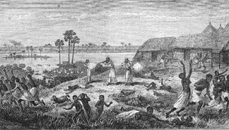 Raid upon a Congolese village by Arab slavers in the 1870s