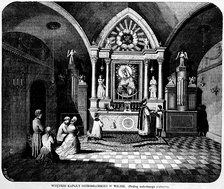 Low Mass celebrated at the Chapel of the Dawn Gate in Wilno (Vilnius). Interior in 1864.