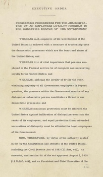 Executive Order 9835, signed by President Truman in 1947