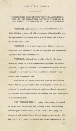 Page one of Executive Order 9835, signed by Harry S. Truman in 1947