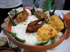 Panta Ilish – a traditional platter of Panta bhat, with fried ilish slice