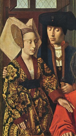 Bold pomegranate- or artichoke-patterned silks are characteristic of the 15th century, as are richly coloured velvets and woolens. Fine linen was important for headdresses and for the shirts and chemises revealed by new lower necklines and slashing.