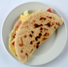 A piadina, a dish characteristic of the Italian region of Romagna and of its enclave of San Marino