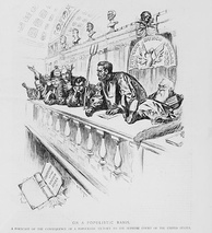 Harper's Weekly's conception of what the Supreme Court would look like under Bryan. Tillman sits center with pitchfork in hand, to the left of Illinois Governor John Peter Altgeld (rising).