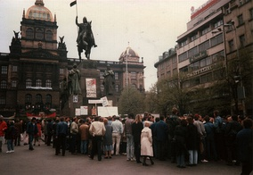 At a demonstration in Prague in April 1990, a swastika is drawn on an anti-KSČ (Communist Party of Czechoslovakia) election banner
