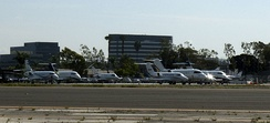 Private jets on the tarmac at John Wayne Airport at Atlantic Aviation