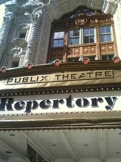 Detail of Publix Theatre logo on what is now Indiana Repertory Theatre.