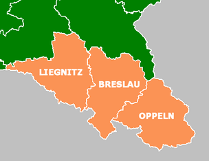 Map of Silesia, showing the historical location of Lower Silesia (Liegnitz), Middle Silesia (Breslau), and Upper Silesia (Oppeln)