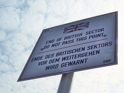 Road sign delimiting the British zone of occupation in Berlin, 1984