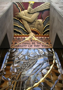 Portal decoration Wisdom by Lee Lawrie, Rockefeller Center, New York (1933)