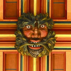 A Green Man depicted in the crossing ceiling