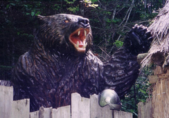 A statue of the Ussuri brown bear from Hokkaido which perpetrated the worst brown bear attack in Japanese history, killing seven people