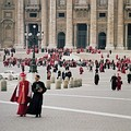 Council Fathers with their secretaries leaving St. Peter's Basilica