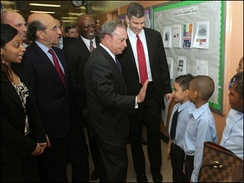 Secretary of Education Arne Duncan and New York City Mayor Michael Bloomberg visit with students at Explore Charter School.