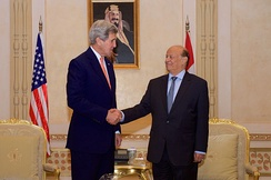 Ousted Yemeni President Abdrabbuh Mansur Hadi with U.S. Secretary of State John Kerry, 7 May 2015