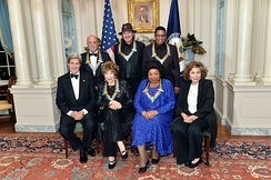 U.S. Secretary of State John Kerry and Teresa Heinz Kerry with the 2013 Kennedy Center honorees -- Shirley MacLaine, Martina Arroyo, Billy Joel, Carlos Santana, and Herbie Hancock.