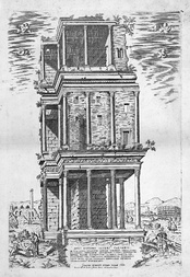 A fragment of the Septizodium, an ancient nymphaeum, in a 1582 engraving