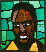 Steve Biko on a stained glass window in the Saint Anna Church in Heerlen, the Netherlands