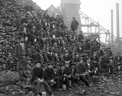 Miners at the Tamarack mine in Copper Country, in 1905