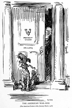 "Wilson and ""Jingo"", the American War Dog. The editorial cartoon ridicules jingoes baying for war."
