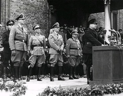 Anton Mussert, leader of the NSB, speaking at a rally in The Hague in 1941