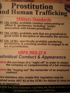 Warning of Prostitution and Human trafficking in South Korea for G.I. by United States Forces Korea.