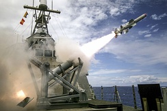USS Coronado launches the first over-the-horizon missile engagement using a Harpoon Block 1C missile during the Rim of the Pacific Exercise (RIMPAC) 2016 in the Pacific Ocean, 21 July 2016.