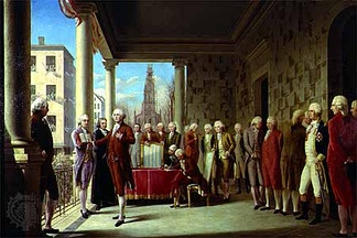 Washington is inaugurated as president of the United States in 1789.