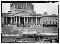 Inauguration platform being constructed on the east steps of the U.S. Capitol, ten days before Woodrow Wilson's March 4, 1913, presidential inauguration.