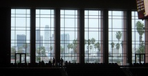 View of Downtown Los Angeles from the Galen Center's unique window
