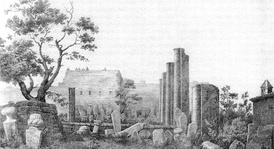 Engraving with a view of the site of Smyrna Agora a few years after the first explorations (1843).