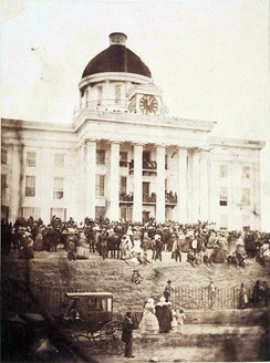Jefferson Davis is sworn in as Provisional President of the Confederate States of America on February 18, 1861, on the steps of the Alabama State Capitol.