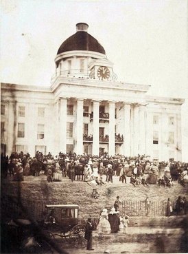 Jefferson Davis being sworn in as President of the Confederate States of America on February 18, 1861, on the steps of the Alabama State Capitol.