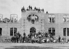 Construction of Kivett Hall in 1902 (completed in 1903). Kivett is the oldest remaining building on Campbell University's campus today.