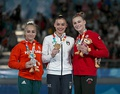 Vault victory ceremony (from left to right): Csenge Bácskay (Silver), Giorgia Villa (Gold), Emma Spence (Bronze)