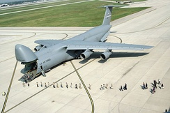 "Lockheed C-5A Galaxy 70-0457, ""City of Fairborn"" of the 89th Airlift Squadron was the first C-5 transferred to Wright Patterson AFB"