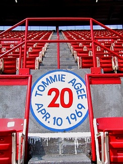 New York Met player Tommie Agee hit a home run as far as up in section 48 at the former Shea Stadium on April 10, 1969.