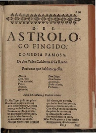 Title page of Calderón de la Barca's Astrologo Fingido, Madrid, 1641