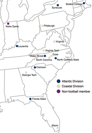 Locations of the Atlantic Coast Conference member institutions.