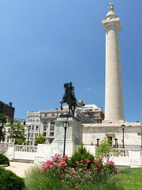 The first Washington Monument in Baltimore, Maryland