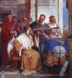 Galileo showed the Doge of Venice how to use the telescope (fresco by Giuseppe Bertini)
