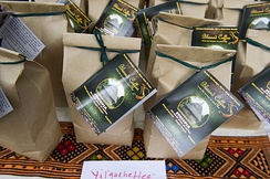 Ethiopian Blessed Coffee brand bags in Takoma Park, Maryland. Coffee is one of Ethiopia's main exports.