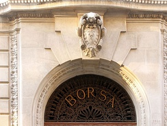 Bourse palace in Venice, decorated with the caduceus coat of arms, representing commerce