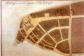 The original city map of New Amsterdam, called the Castello Plan, from 1660 (the bottom left corner is approximately south, while the top right corner is approximately north)